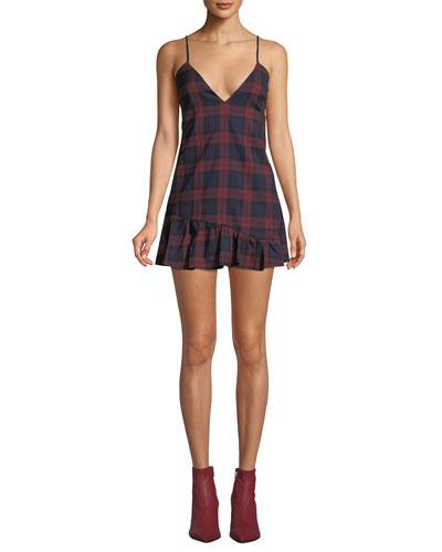 Owen Plaid Flounce Mini Dress