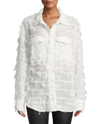 Sophie Textured Button-Down Top
