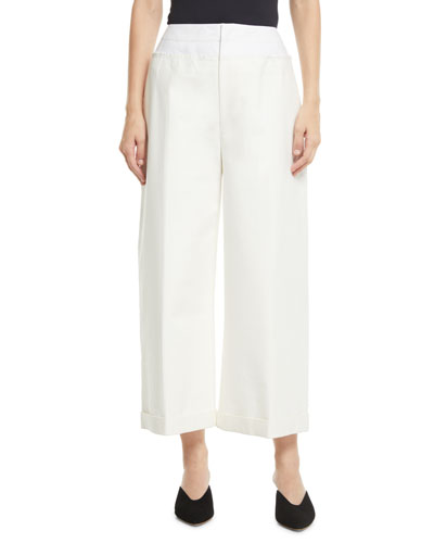 Tate Wide-Leg Cotton-Blend Cropped Trousers