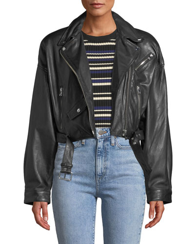 Dylan Dropped-Shoulder Cropped Leather Biker Jacket