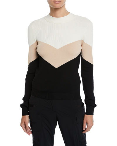 Colorblock Chevron Tie-Back Sweater