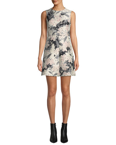 Floral Jacquard Sleeveless A-line Dress