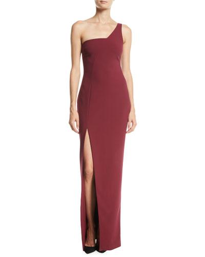 Briar 1-Shoulder High-Slit Column Gown