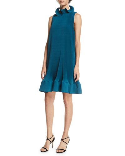 Pleating Short Sleeveless Dress