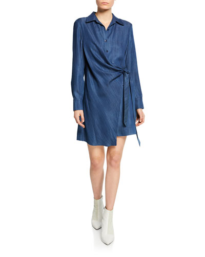 Draped Tie-Front Tunic Short Dress