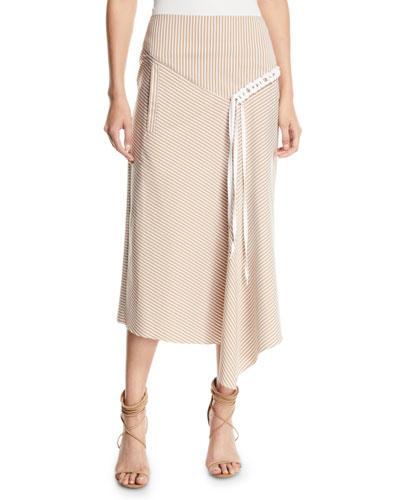 Kaia Striped Draped Midi Skirt