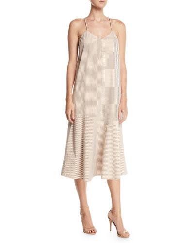 Kaia V-Neck Striped Flared Long Cami Dress