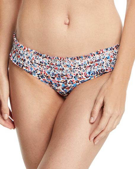 Tory Burch Costa Printed Hipster Smocked Swim Bikini