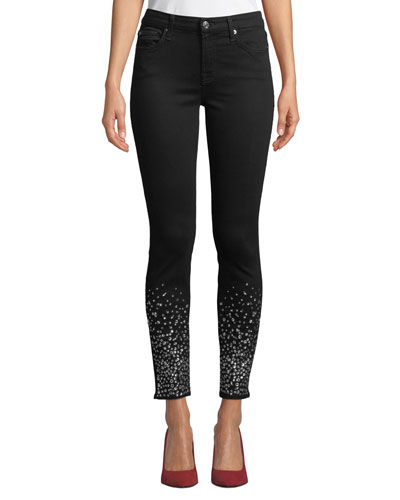 The Ankle Skinny Jeans with Crystal Cuffs