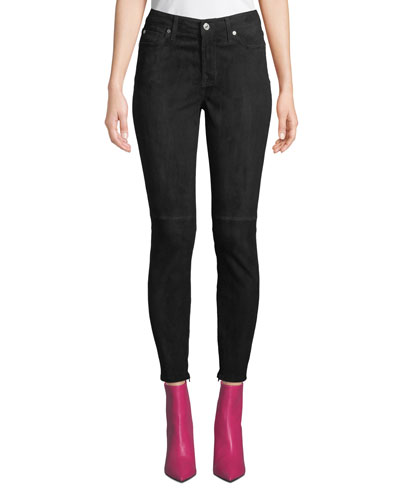 The Ankle Skinny Suede Jeans