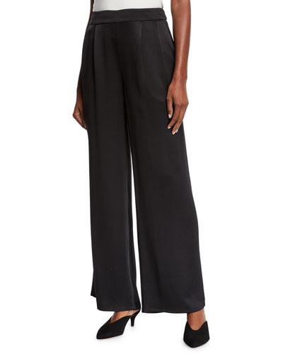 Silk Crepe Pleated-Waist Wide-Leg Pants