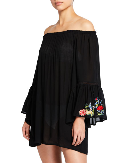 JOHNNY WAS Casey Bell-Sleeve Tunic Coverup, Plus Size in Black