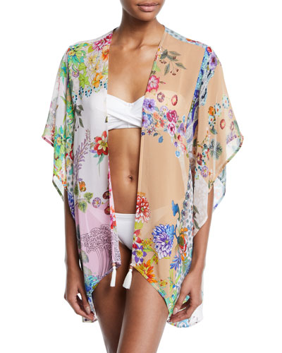 Ember Floral Short Coverup Kimono Coverup, Plus Size