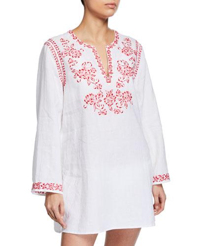Azalea Embroidered Linen Long-Sleeve Tunic, Plus Size