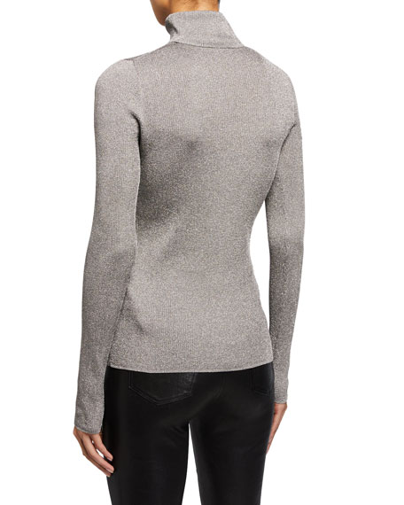 Image 3 of 4: Ribbed Metallic Turtleneck Pullover Sweater