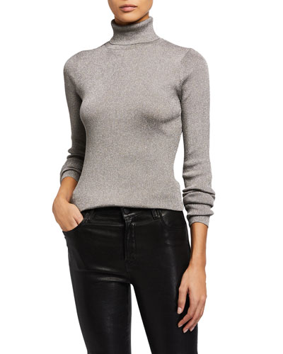 Ribbed Metallic Turtleneck Pullover Sweater