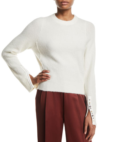 Alpaca-Wool Embellished Pullover Sweater