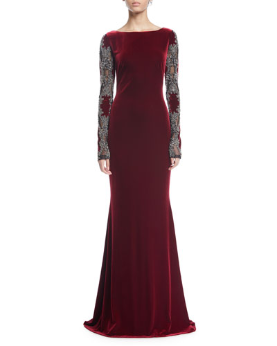 Sheer Long-Sleeve Velvet Column Gown