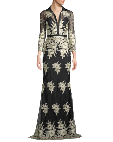 Platinum Embroidered Lace Stretch Silk Column Gown, Black/ Gold