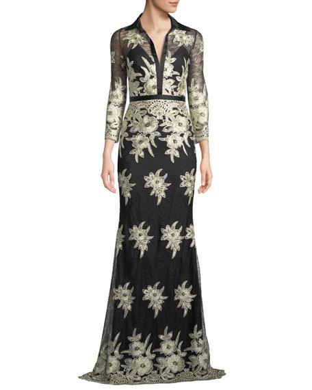 BADGLEY MISCHKA Platinum Embroidered Lace Stretch Silk Column Gown in Black