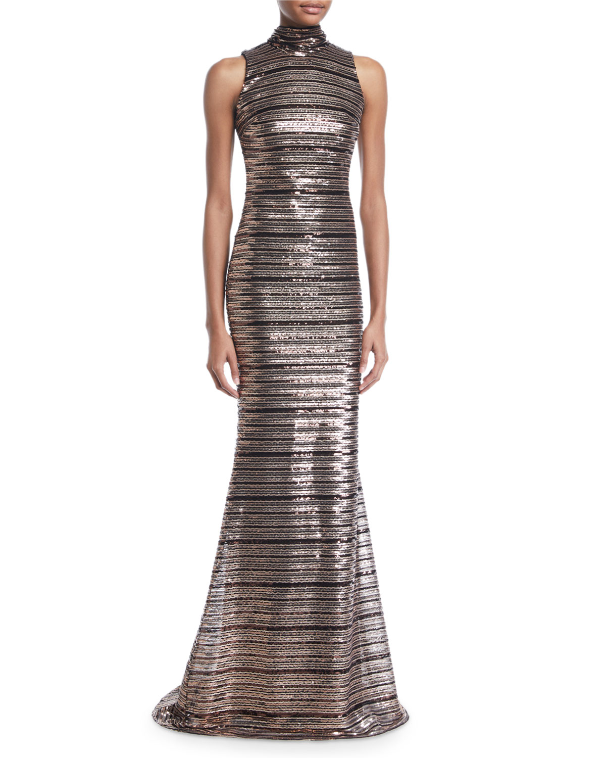 Badgley Mischka Collection Sleeveless Striped Sequin Trumpet Gown ...