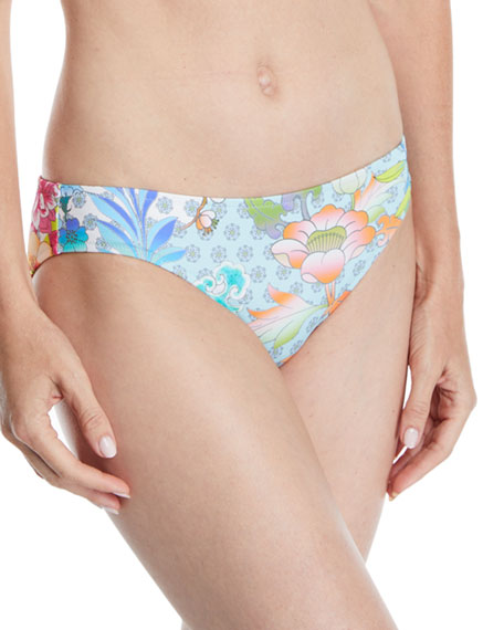 JOHNNY WAS Destin Floral-Print Hipster Bikini Bottoms in Multi