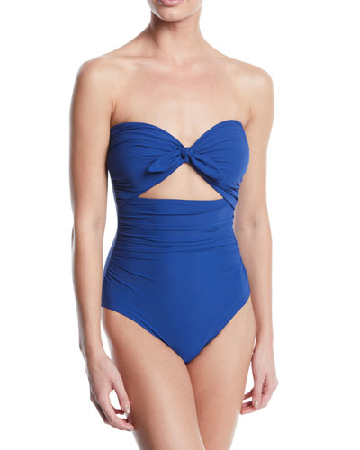 tie-front bandeau cutout one-piece swimsuit