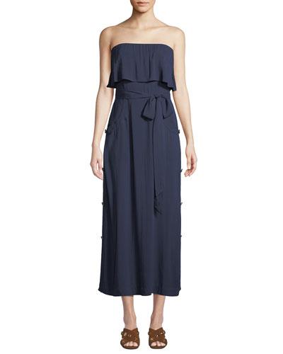 Glenda Strapless Tie-Front Long Coverup Dress