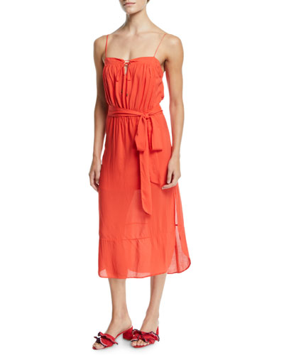 Grace Belted Sleeveless Midi Coverup Dress