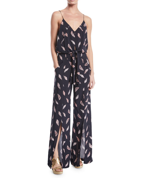 VIX Nora Printed Wide-Leg Coverup Jumpsuit in Black/Pink