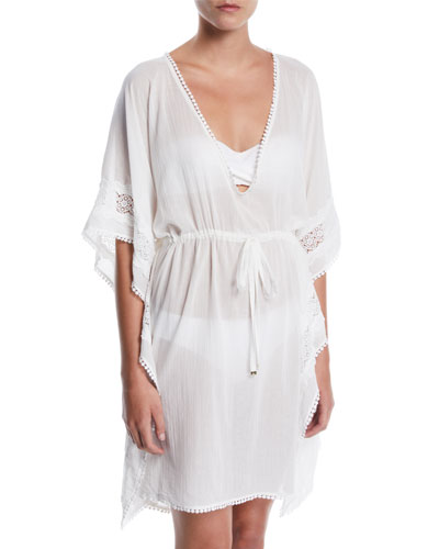 embroidered long caftan coverup