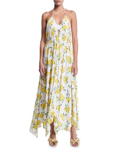 lemon-print halter coverup maxi dress