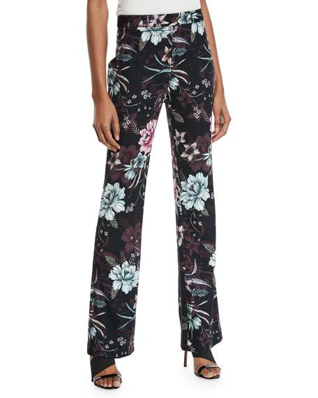 Badgley Mischka Collection Floral Straight-Leg Pants