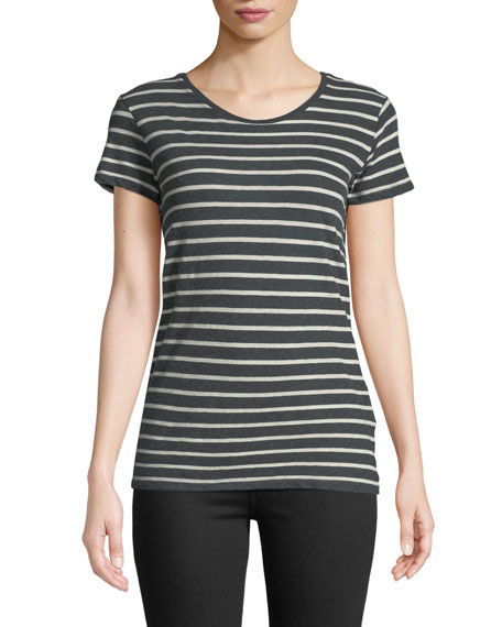 Majestic STRIPED COTTON-CASHMERE CREWNECK TEE