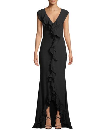 Aiden V-Neck Cascade Ruffle Gown