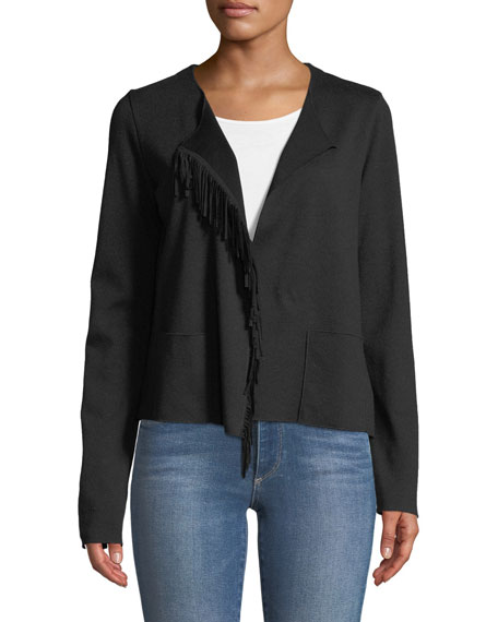 Majestic MERINO WOOL OPEN-FRONT JACKET WITH SUEDE FRINGE