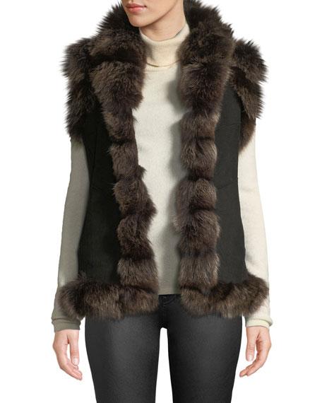 BELLE FARE Furs SUEDE FUR-TRIM VEST