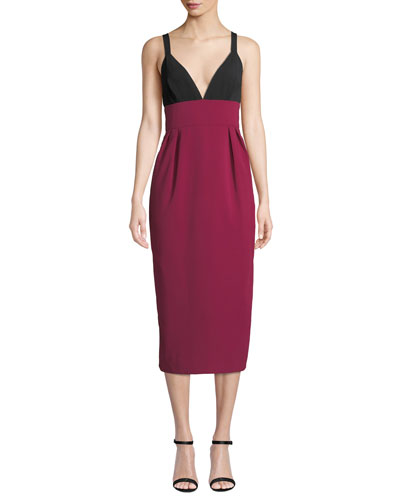 Two-Tone V-Neck Sleeveless Cocktail Dress