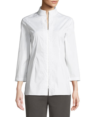 Funnel-Neck Zip-Front Embroidered Blouse, Plus Size