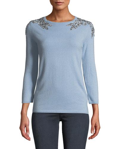 3/4-Sleeve Embellished-Shoulder Cashmere Sweater