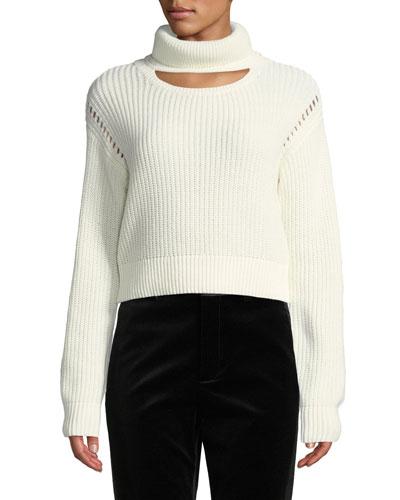 Cutout Turtleneck Cropped Sweater