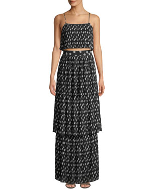 fe124fc6c54 Fame and Partners The Romero Two-Piece Crop Top   Skirt Set