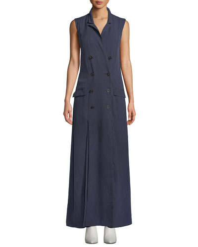 The Thurman Long Sleeveless Double-Breasted Dress