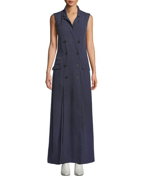 Fame And Partners THE THURMAN LONG SLEEVELESS DOUBLE-BREASTED DRESS