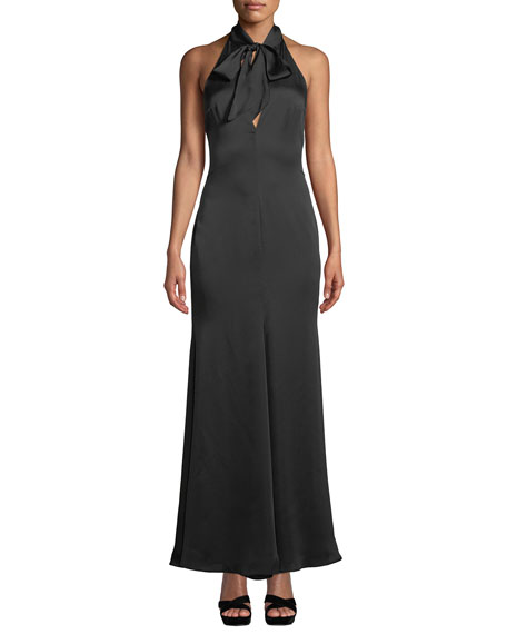 Fame And Partners THE ACE SELF-TIE V-NECK SATIN GOWN