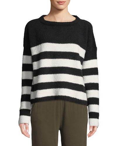 Striped Chenille Boat-Neck Sweater