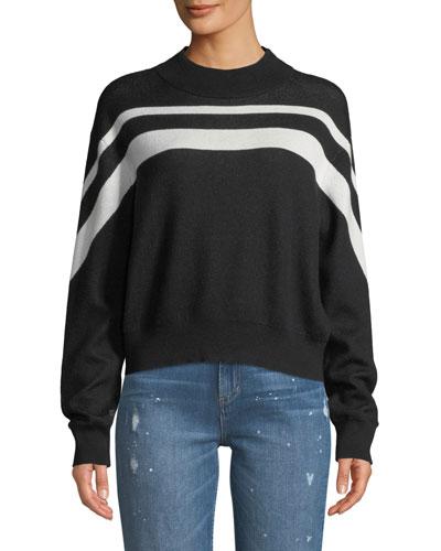Cashmere-Blend Intarsia Striped Pullover Sweater