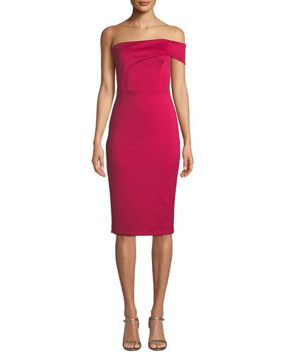 Asymmetric Off-Shoulder Sheath Dress