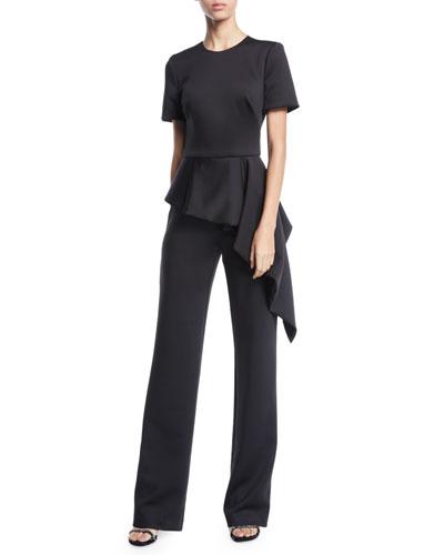 Short-Sleeve Asymmetric Peplum Jumpsuit
