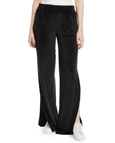 Low-Rise Split-Leg Velour Active Pants
